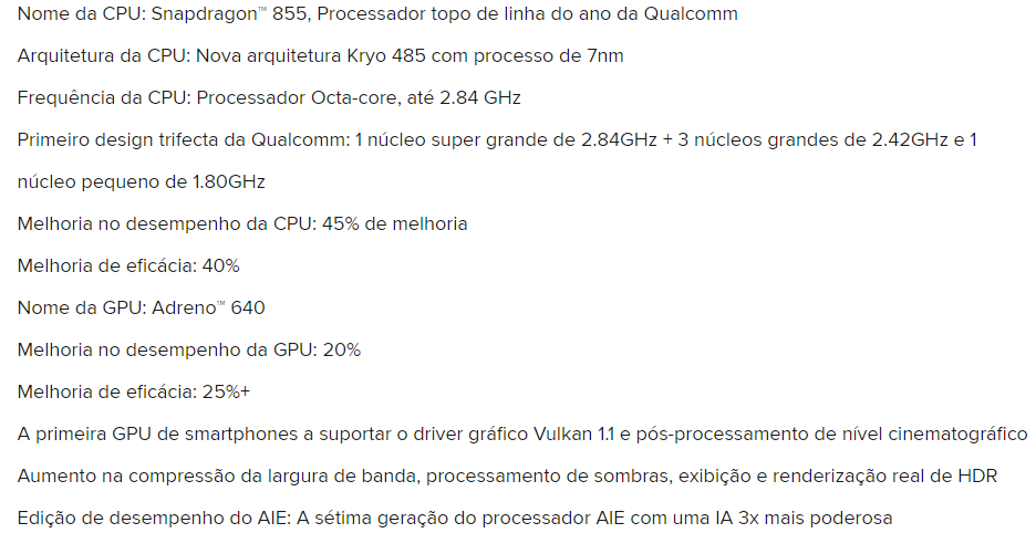 Processador Xiaomi mi 9